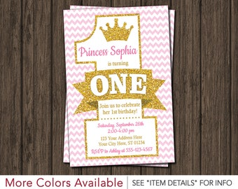 Princess First Birthday Invitation - Pink and Gold 1st Birthday Invitations