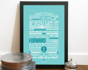 Rocky Poster inspired quote from rocky Balboa movie inspirational quote Poster typography art print Rocky inspirational speech to his son