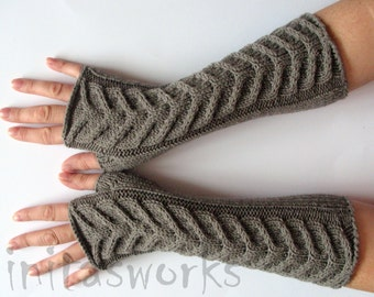 "Fingerless Gloves Long Gray Brown 11"" Mittens Arm Warmers, Acrylic Wool"