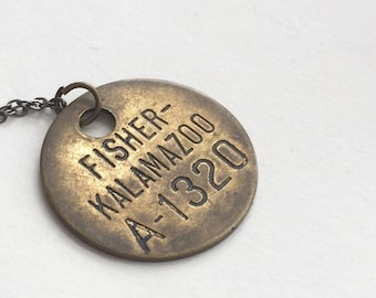 Vintage KALAMAZOO Fisher Body Plant employee Tag Necklace on Silver Chain