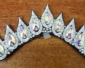 Kiara - Single row embroidered 22mm diamanté sew on teardrop rhinestones and Alora Austrian hotfix rhinestones