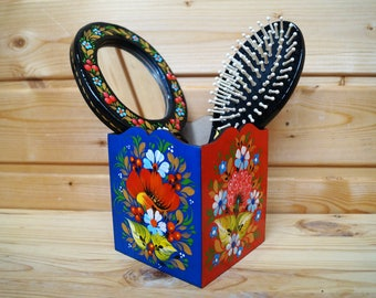 Holder for hairbrush, Desk accessories for women Brush, makeup organizer, Colorful floral painted box Ukrainian Petrykivka Boho wood storage
