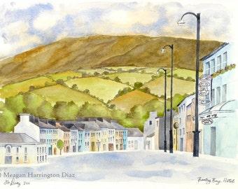 Ireland Watercolor - Bantry Bay Hotel - Fine Art Print - County Cork Ireland - Rolling Hills Ireland Landscape