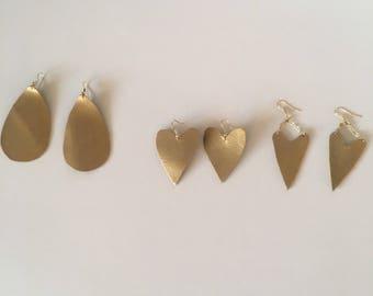 Gold Valentine's Day inspired earrings, heart earrings, Valentine's jewelry, gold jewelry