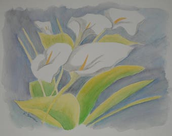 Original floral painting of lilies to the watercolor painting floral-Original floral painting of lilies in Floral watercolor painting