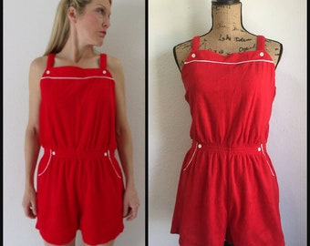 Vintage 1970s Red Romper Short Jumpsuit - 70s Red Onesie / Nautical / Preppy / Cherry Red  Medium  M  Large L
