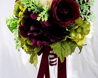 Burgundy bouquet, bridal bouquet, Silk flowers, Wedding bouquet, Peony roses hydrangea ivory green set package