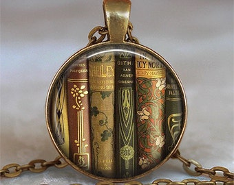 Antique Books pendant, book shelf pendant, book jewelry, librarian gift, teacher's gift book pendant keychain key chain key ring key fob