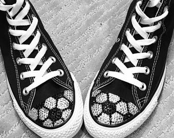 Soccer Blinged Converse High Top Shoes in Black, White or Navy Blue. Kid's  Shoes