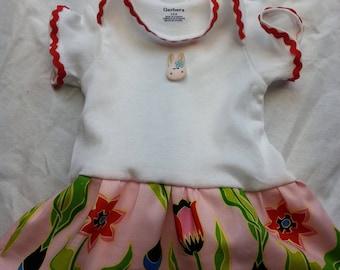 Floral/Red Onesie Dress  - 3-6 months