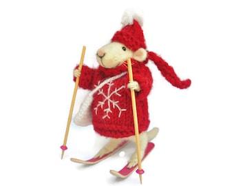 Skiing mouse  Needle felt mouse  Wool mouse  Felted animal Felt miniature White mouse