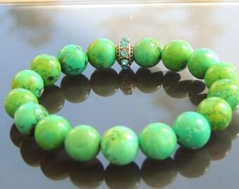 12 mm Chrisoprase mala Bracelet! 12 mm Chalcedony  Mala bracelet! Ladies Bracelet! Green Bracelet! Power Creativity!Sacral and Heart Chakras