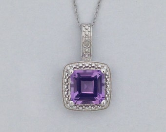 Natural Amethyst with Natural Diamond Pendant 925 Sterling Silver