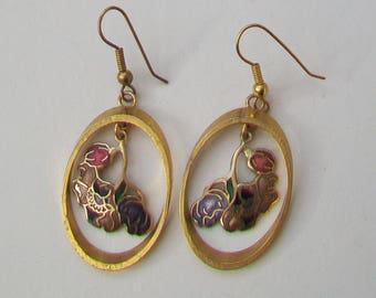 SEA GEMS UK 1980s Pendant Cloisonne Enamel Flower Droppers in Gold Tone Hoops Earrings
