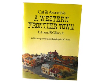 Western Frontier Town Cut and Assemble Paper Model - HO Scale Buildings 1970s - Childrens Craft Book - Gift Book - Western Railroad