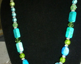 "Turquoise Blueish Green Mixed Bead Necklace 19"" long"