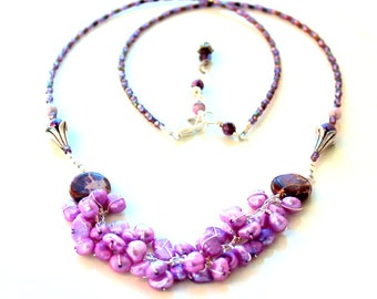 pearl wrapped necklace. beaded lilac cones / purple pearls / wire wrapped sterling silver gift /