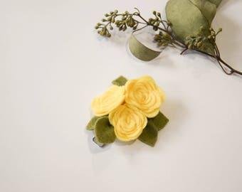 Yellow Rose Felt Flower Trio, Handmade, Headband or Clip