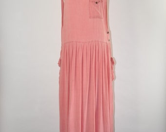 90s pink maxi dress / 1990s long caftan dress / vintage loose tank dress