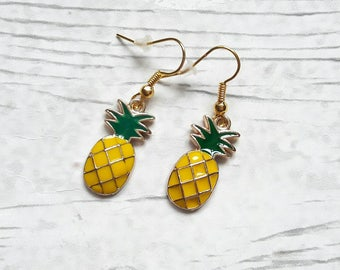 Pineapple earrings, fruit earrings, tropical jewellery, food jewelry, summer earrings, holiday jewellery, gifts for her,