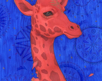 Red giraffe with gold detailing
