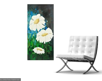 Fine art flower painting, 21 x 44 inch floral art canvas, flower painting, white flowers, white flower painting, white flower art, fine art
