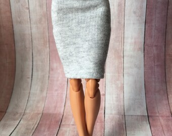 Grey 1/6 scale doll skirt