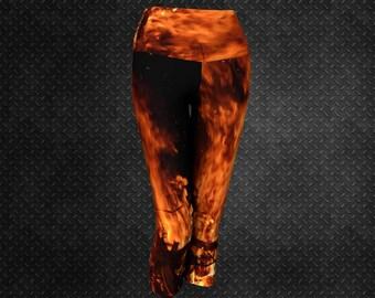 Flame Capri Yoga Leggings Orange Flame Capris Flame Print Capri Leggings Cool Cropped Workout Capri Orange Flames Capris Tights Womens