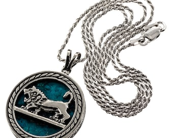 Natural Eilat Stone, Judaica Necklace, Sterling Silver, Lion Of Judah Pendant, Round Pendant