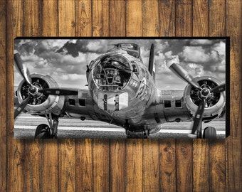WWII B-17 Flying Fortress bomber plane 18x36 panoramic on Satin Photo paper