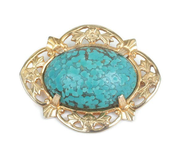 Turquoise Art Glass Cabochon Brooch Floral Gold Tone Setting Vintage Gift Idea Mothers Day