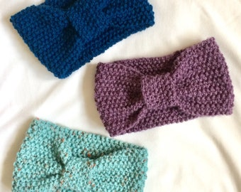 handmade, knitted, ladies, teens, blue, purple, teal, earwarmer, ear warmer, head wrap, bandana, headband