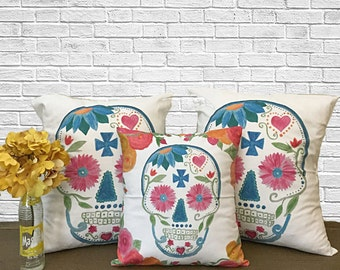 Decorative Pillows, Throw Pillow Set, Day of the Dead, Sugar Skull, Watercolor Art,  Skull Bedding, Gift Ideas, Throw Pillow Covers