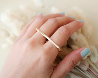 Double Finger Ring- two finger ring-statement ring- knuckle ring- bar ring- minimal jewelry- thin ring- double ring