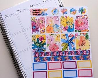 Watercolor Bouquet Quick Kit - Planner Stickers - Erin Condren - Happy Planner
