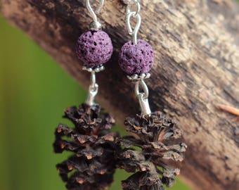 Pine cone earrings, pearl purple lava, silver beads