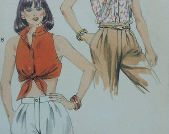 Vintage Kwik Sew 1515 Sewing Pattern Sizes 14-16-18-20 Cropped Tops