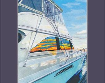 Viking Sportfisher at sunset Wrightsville Beach Marina Bluewater Yacht matted Fish print