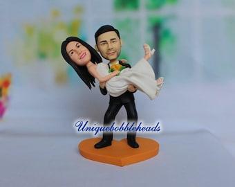 Custom wedding cake topper,grooms carrying bride,mr and mrs cake topper,princess hug,bride and groom cake topper,