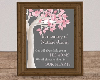 Infant Loss Remembrance Print, custom memorial gift, in memory of, baby loss tree print, miscarriage wall art, pregnancy loss, loved one