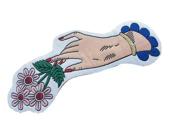 Hand & Flowers Iron on Patch