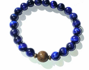 Buddha Blue Tiger Eye and Copper Mala Bracelet