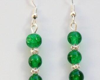 Green Glass Drop Earrings with Sterling Silver Hooks LB101