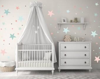 NEW!! Baby Nursery Wall Decals, modern nursery art, Baby Nursery Wall Decal Kids Wall Decal Modern Nursery Wall Decal, Children stars decor