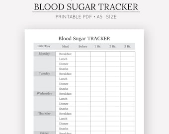 Blood Sugar Tracker | Health Journal | A5 Insert | A5 Planner | Digital Download | Medical Journal | Fitness Planner | Blood Glucose Log