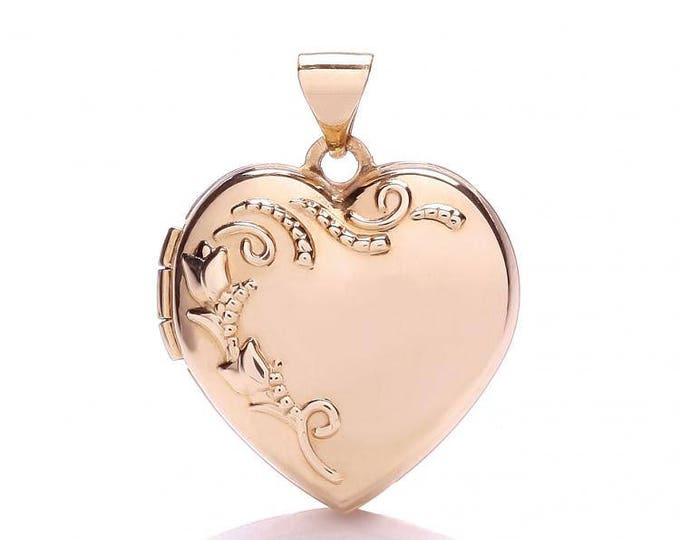 9ct Rose Gold Heart Shaped 2 Photo Locket With Embossed Floral Design
