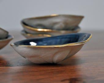 Navy Blue Sand Dollar Trinket Dish - Ceramic Bowl Gift for Her Foodie Gold Blue Small Bowl Sand Dollar Ceramic