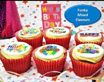 Happy Birthday Salted Caramel, Raspberry Ripple & Strawberry Milkshake Mixed 6 Cupcake Gift Box