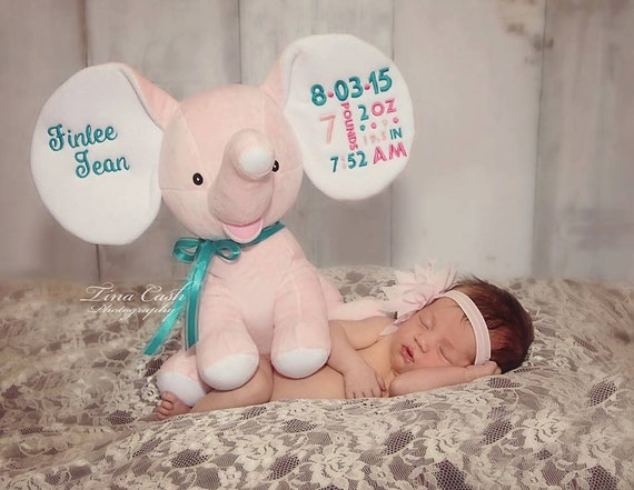 Custom Embroidered Light Pink and Light Blue Elephant/Cubbies/Monogram Pink Elephant/Monogram Blue Elephant