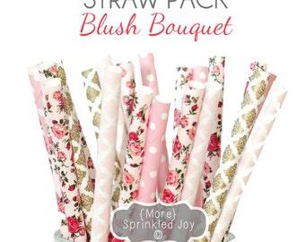 FLOWER Light Pink & Gold Paper Straws, Party Decor, Blush, Cake Pop, Floral, Tea Party, Shower, Birthday, Baby Shower, Bridal, Wedding, Baby